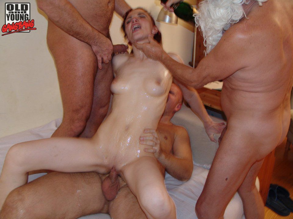 Pity, that slut gangbang a young quite good variant