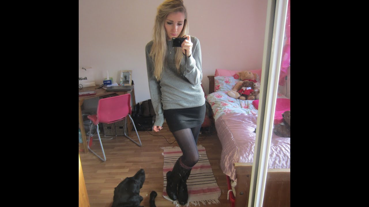 Pantyhose boots skirt