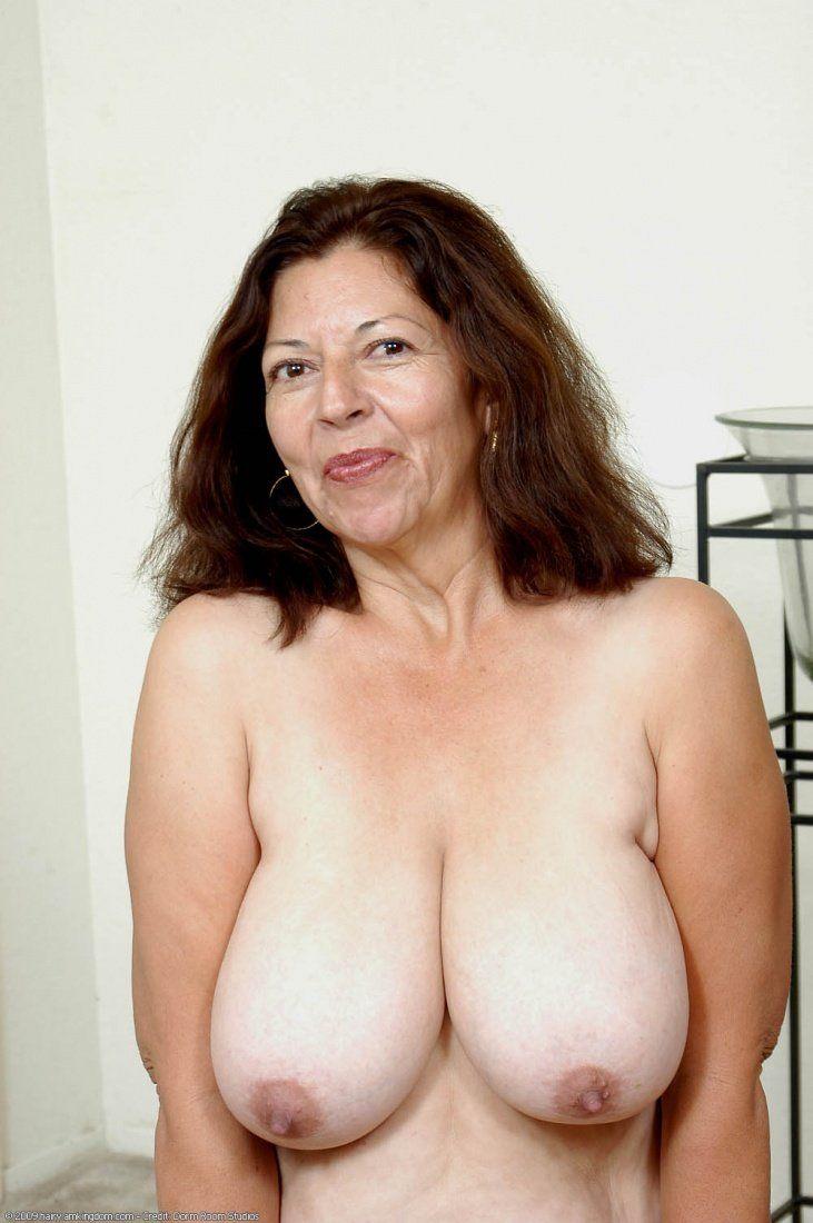 Big natural tits older woman