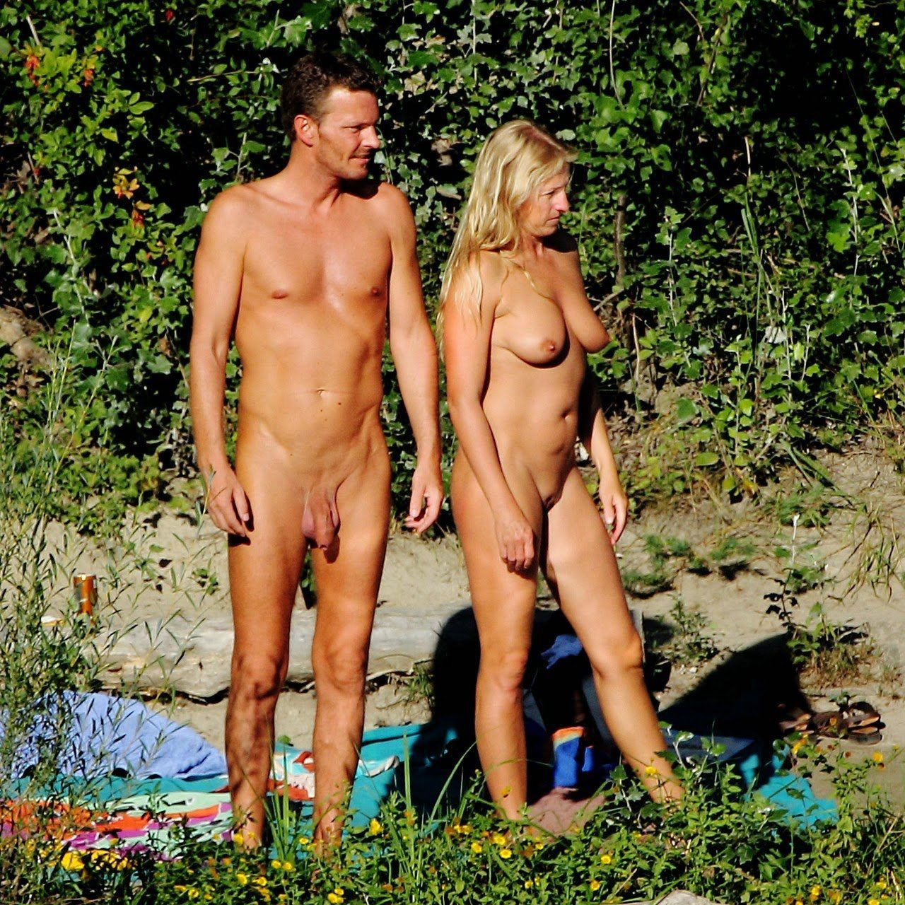 Nude and nudist shaved couples