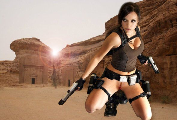 Lara croft blowjob gun