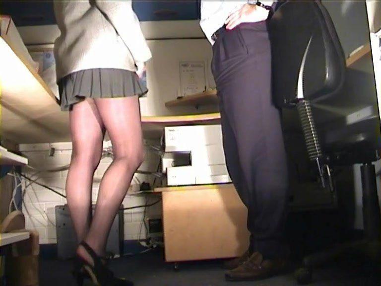 Pantyhose secretary spanking